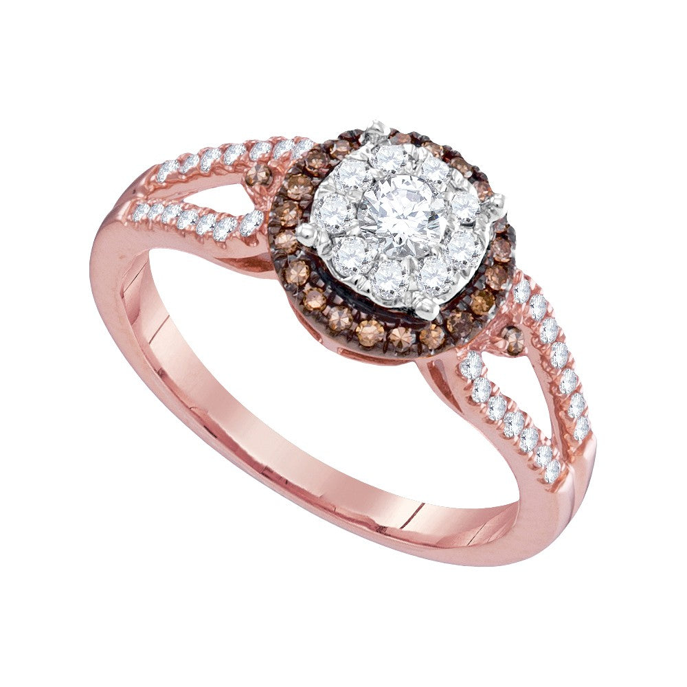 14kt Rose Gold Womens Round Diamond Solitaire & Brown Halo Bridal Wedding Engagement Ring 1/2 Cttw