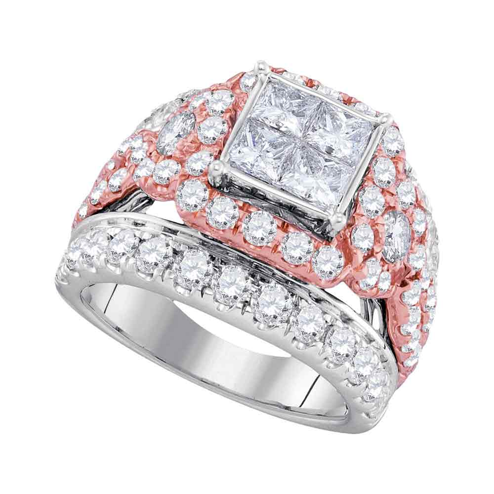 14kt White Gold Womens Princess Diamond Cluster Rose-tone Bridal Wedding Engagement Ring 4.00 Cttw