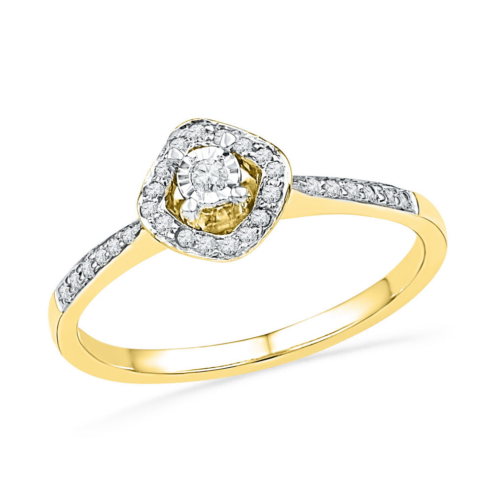 10kt Yellow Gold Womens Round Diamond Solitaire Halo Bridal Wedding Engagement Ring 1/6 Cttw