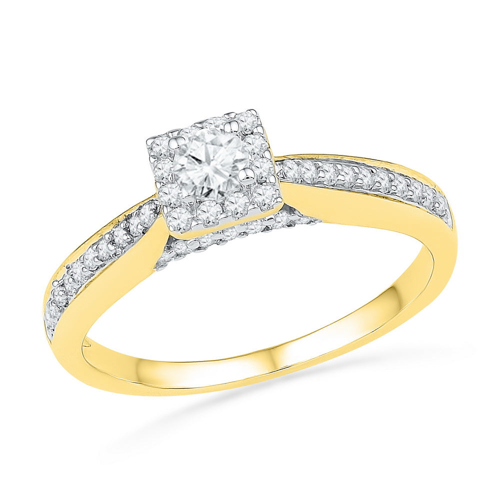 10kt Yellow Gold Womens Round Diamond Solitaire Square Bridal Wedding Engagement Ring 1/2 Cttw