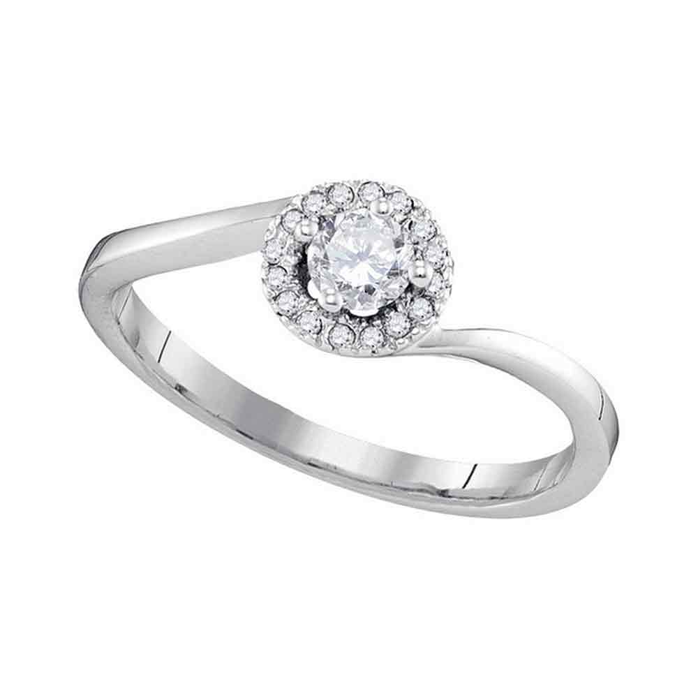 10kt White Gold Womens Round Diamond Solitaire Halo Bridal Wedding Engagement Ring 1/4 Cttw