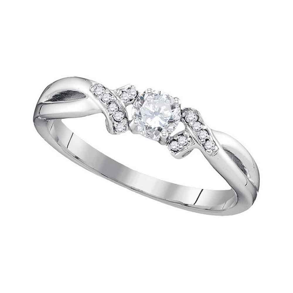 10k White Gold Womens Round Diamond Solitaire Bridal Wedding Anniversary Ring 1/3 Cttw