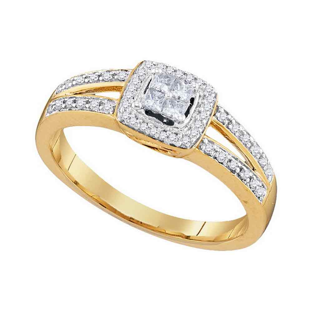 10kt Yellow Gold Womens Princess Diamond Cluster Bridal Wedding Engagement Ring 1/5 Cttw