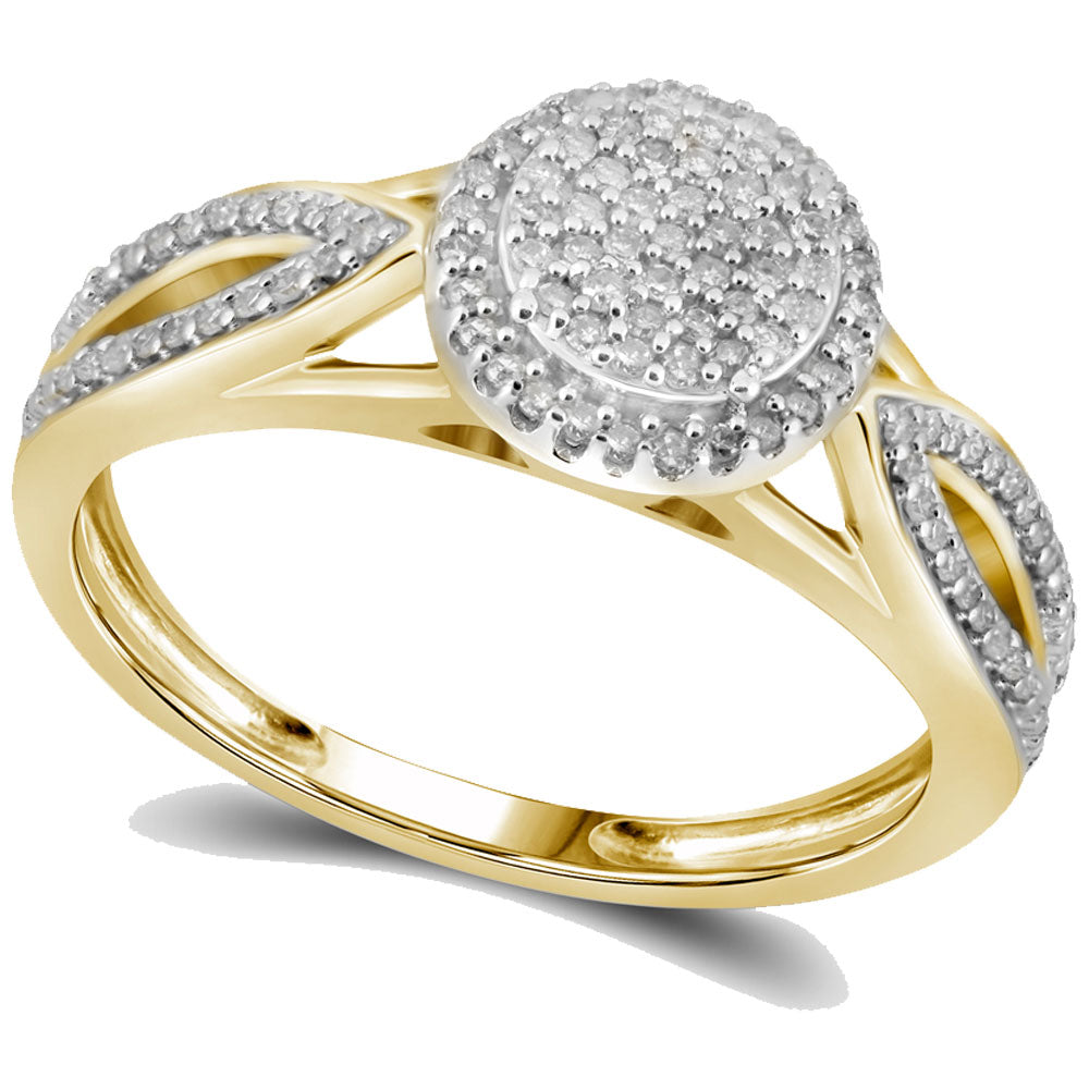10kt Yellow Gold Womens Round Diamond Cluster Bridal Wedding Engagement Ring 1/4 Cttw