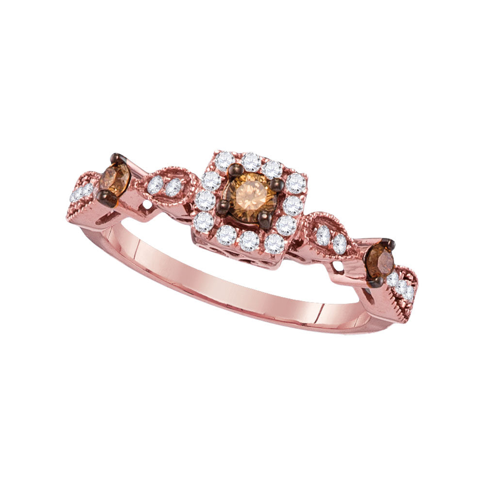 14kt Rose Gold Womens Round Brown Color Enhanced Diamond Solitaire Bridal Wedding Engagement Ring 1/2 Cttw