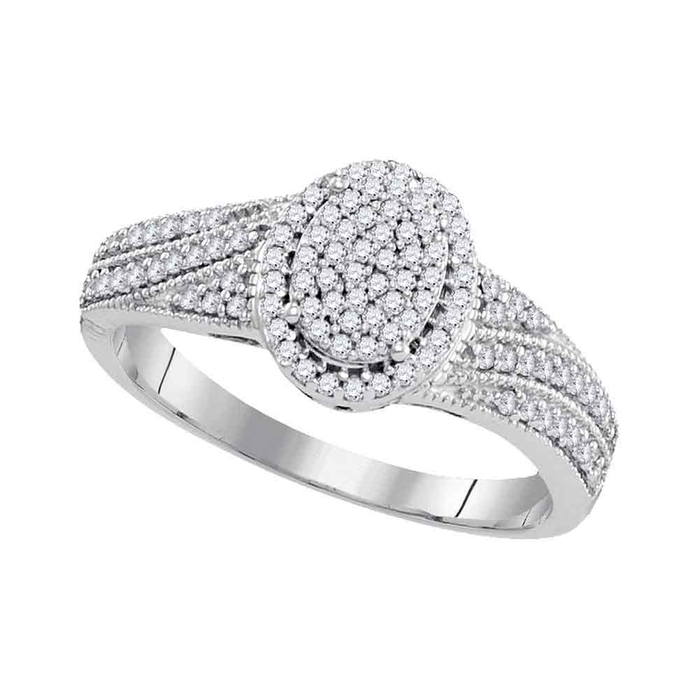 10kt White Gold Womens Diamond Oval Cluster Bridal Wedding Engagement Ring 1/3 Cttw