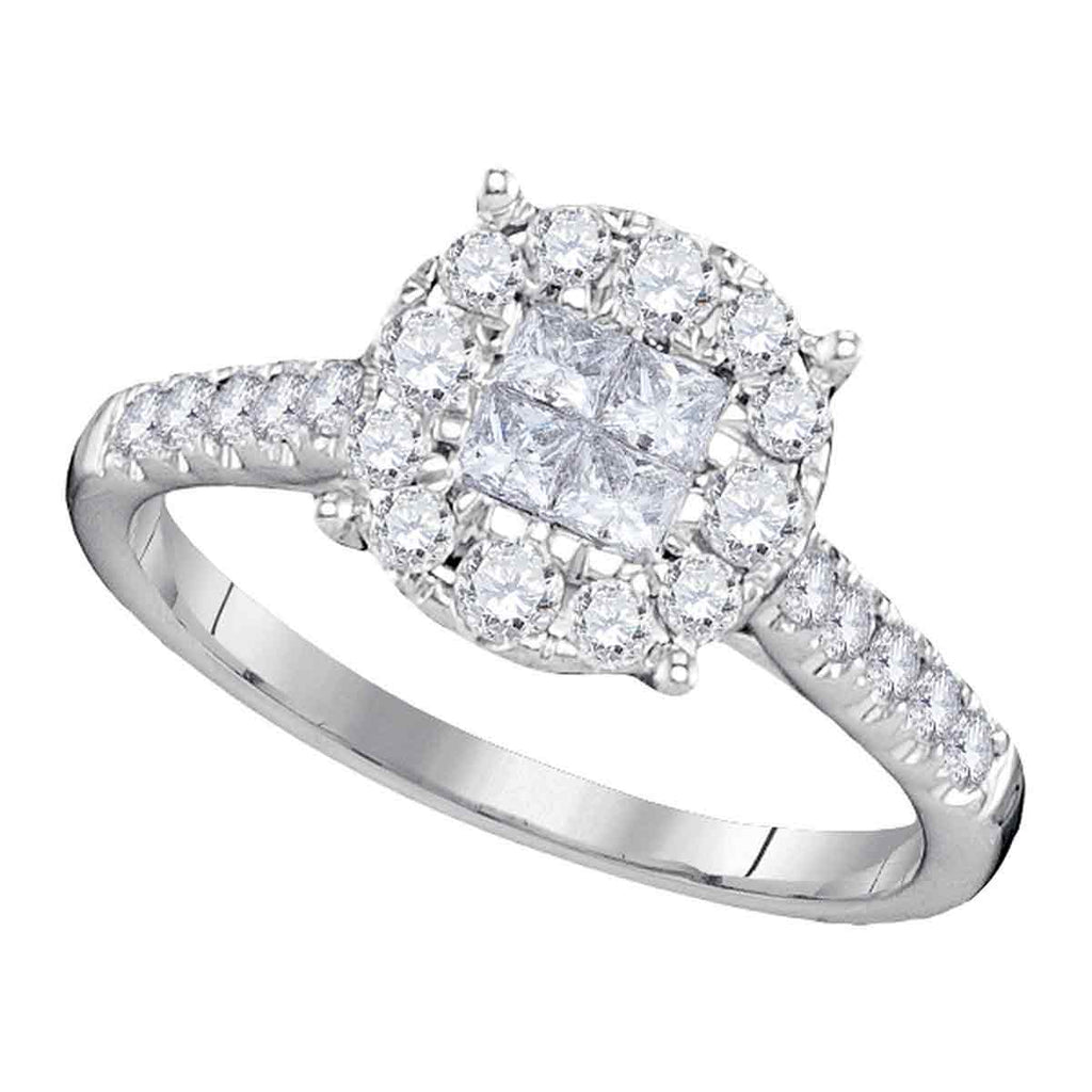 14kt White Gold Womens Princess Round Diamond Soleil Cluster Bridal Wedding Engagement Ring 3/4 Cttw
