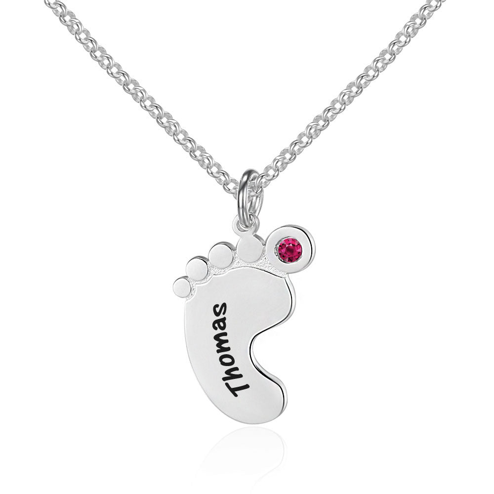 Penelope's Footprint Custom Engrave Name Necklace