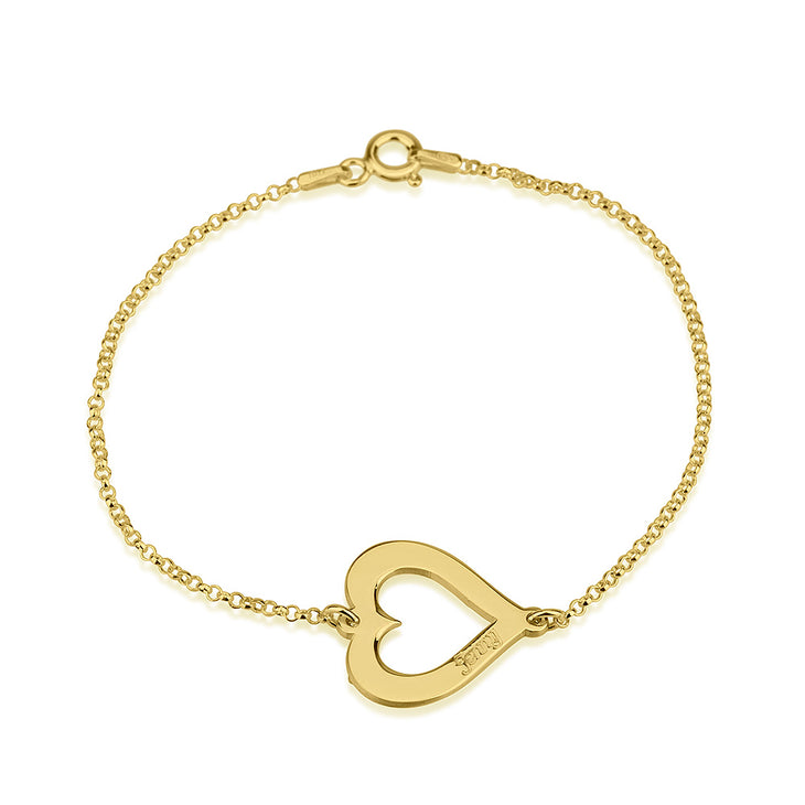 Cut Out Heart Engraved Bracelet