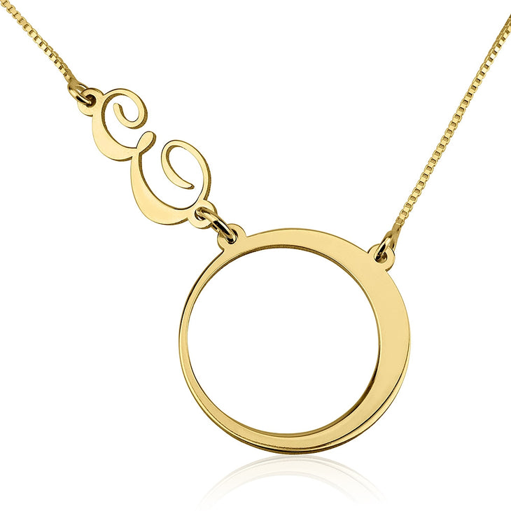 Circle Sideways Initial Necklace