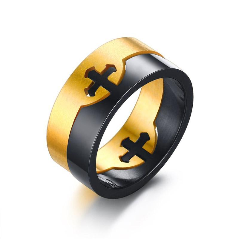 Penelope's Black and Gold Plating Christian Ring