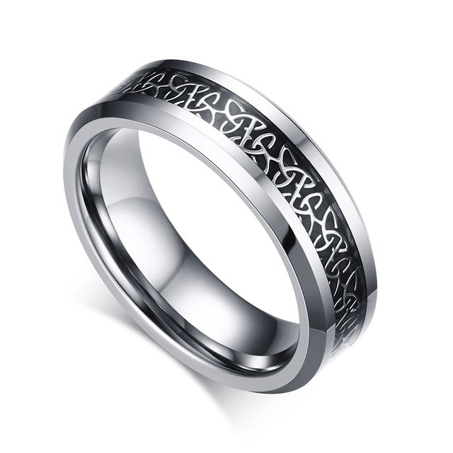 Penelope's Carbon Fiber Inlaid Tungsten Celtics Knot Band Ring