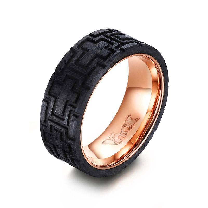 Penelope's Stainless Steel Christian Ring with Carbon Fiber Finish