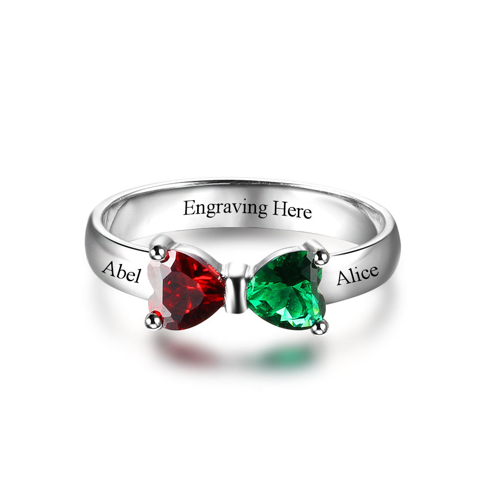 Penelope's Heart Birthstone Radiant Bow Promise Ring