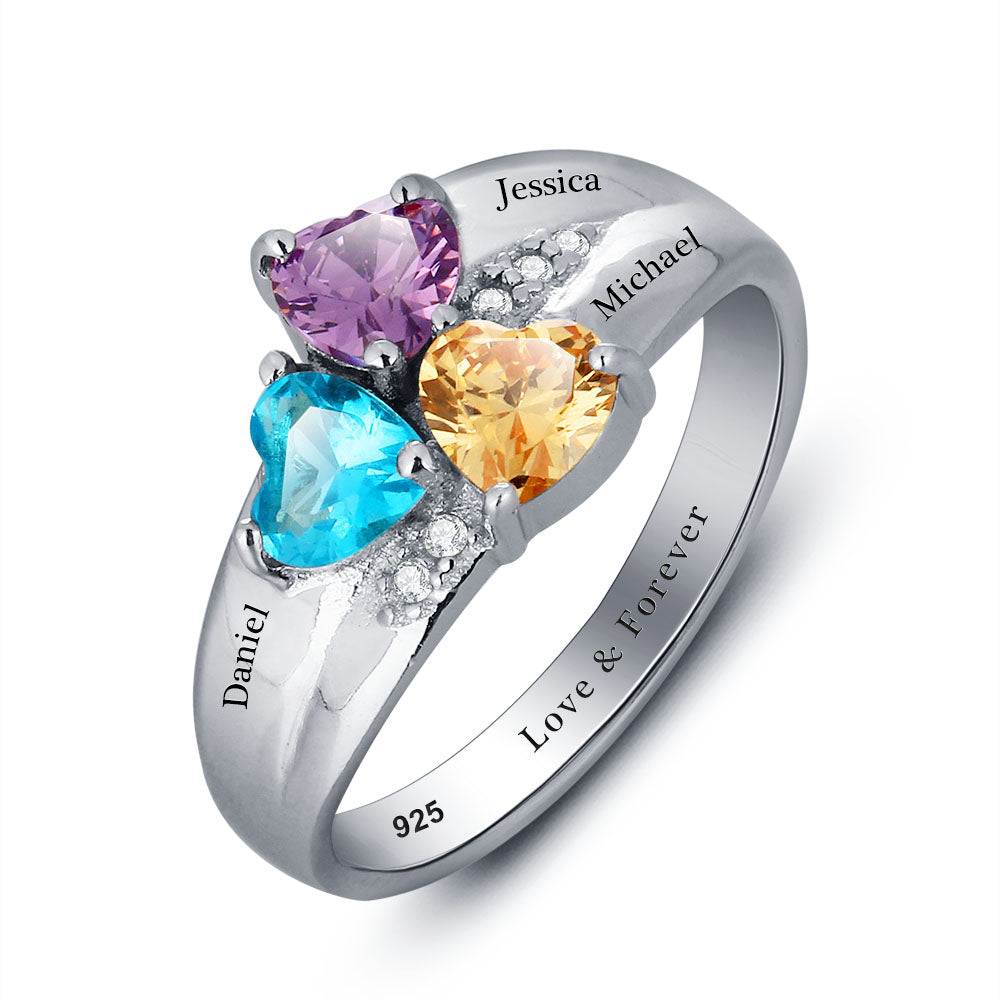 Penelope's Triple Heart Gemstone Promise Ring