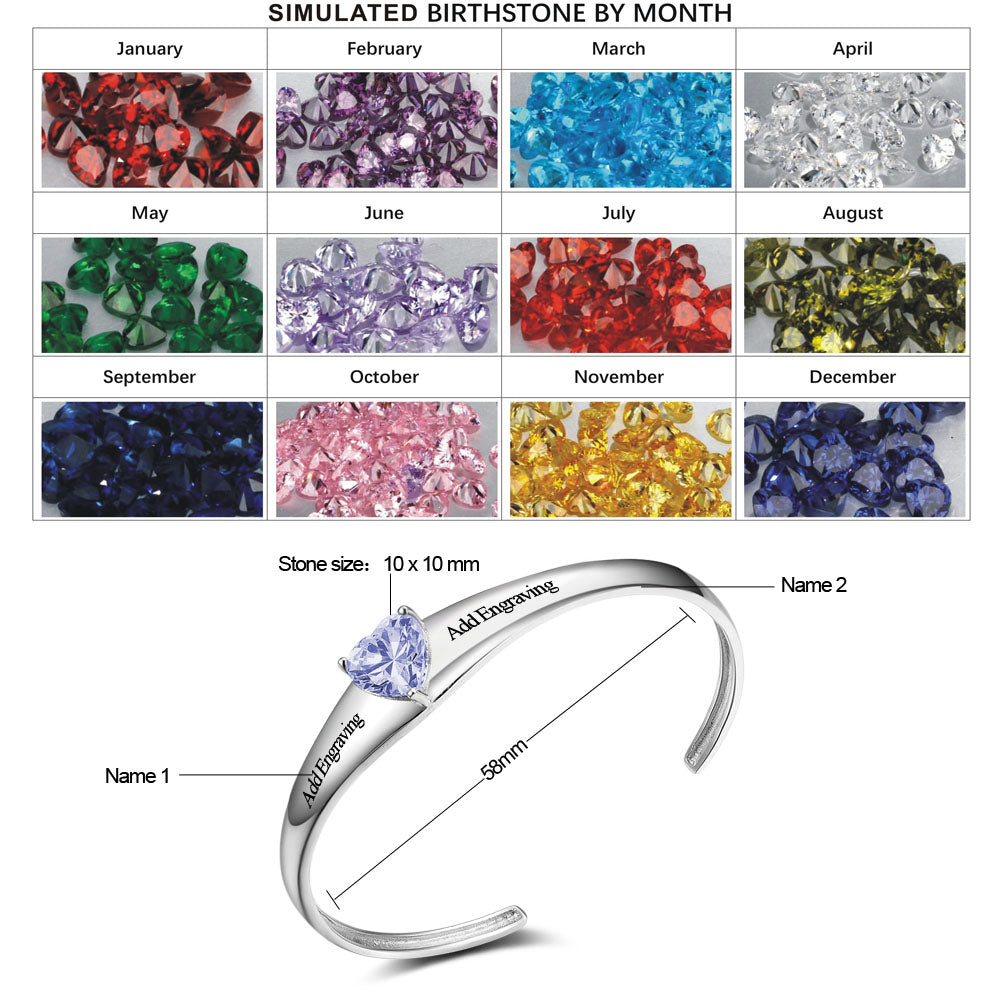 Penelope's Personalized Bangle Name Bracelet with Sparkling Birthstone