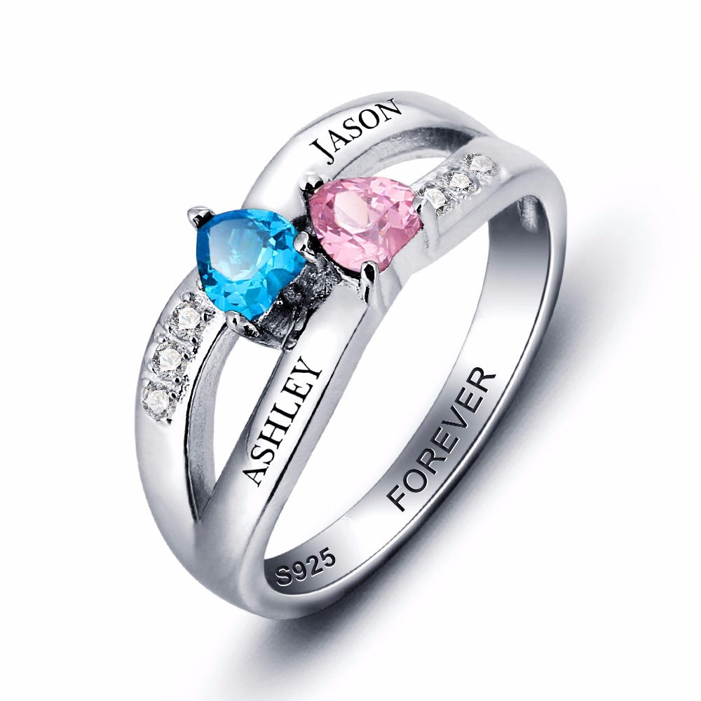 Penelope's Personalized Double Heart Promise Ring