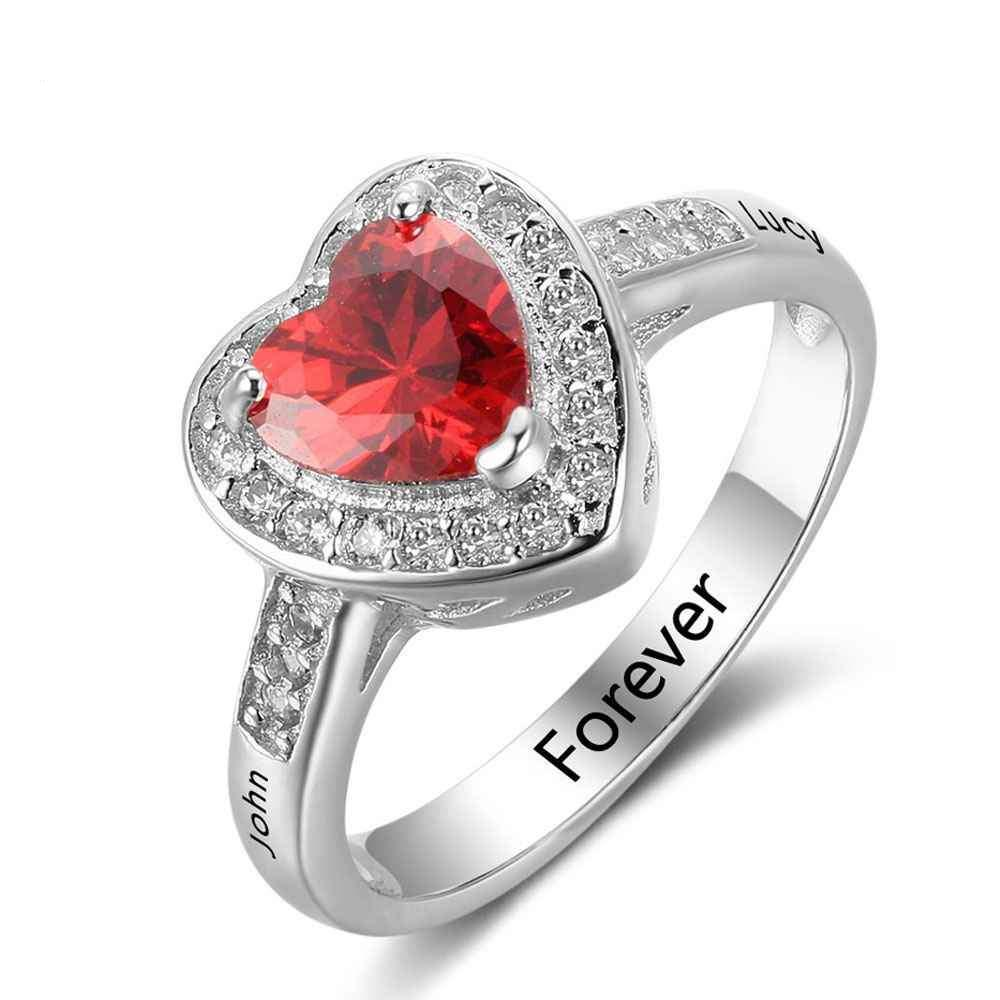 Penelope's Pure Heart Custom Engrave Purity Ring with Birthstone
