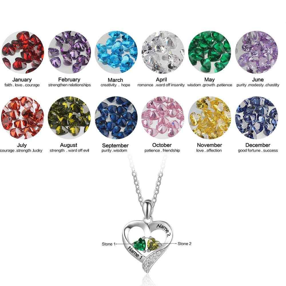 Penelope's Elegant Heart Birthstone Personalized Name Necklace