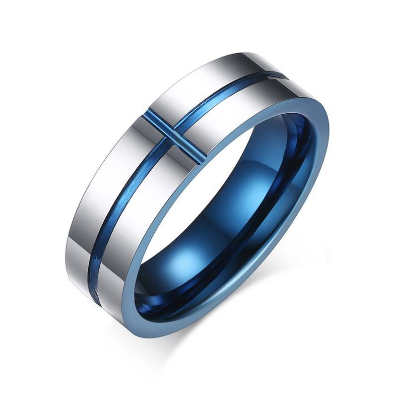 Penelope's Blue Cross Tungsten Christian Ring
