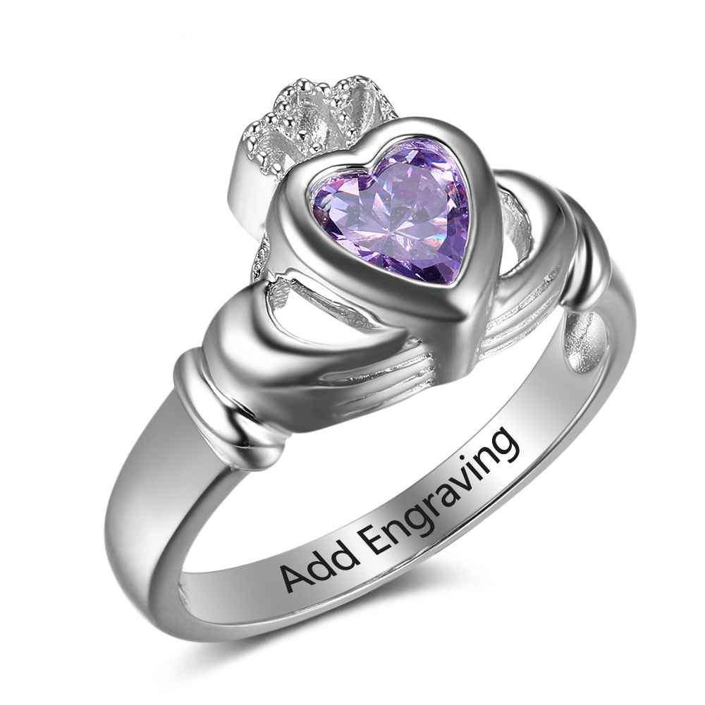Penelope's Custom Engrave and Birthstone Claddagh Ring