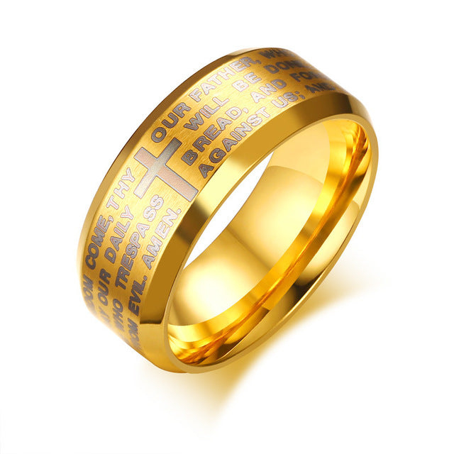 Penelope's Lord's Prayer Christian Ring with Matte Finish