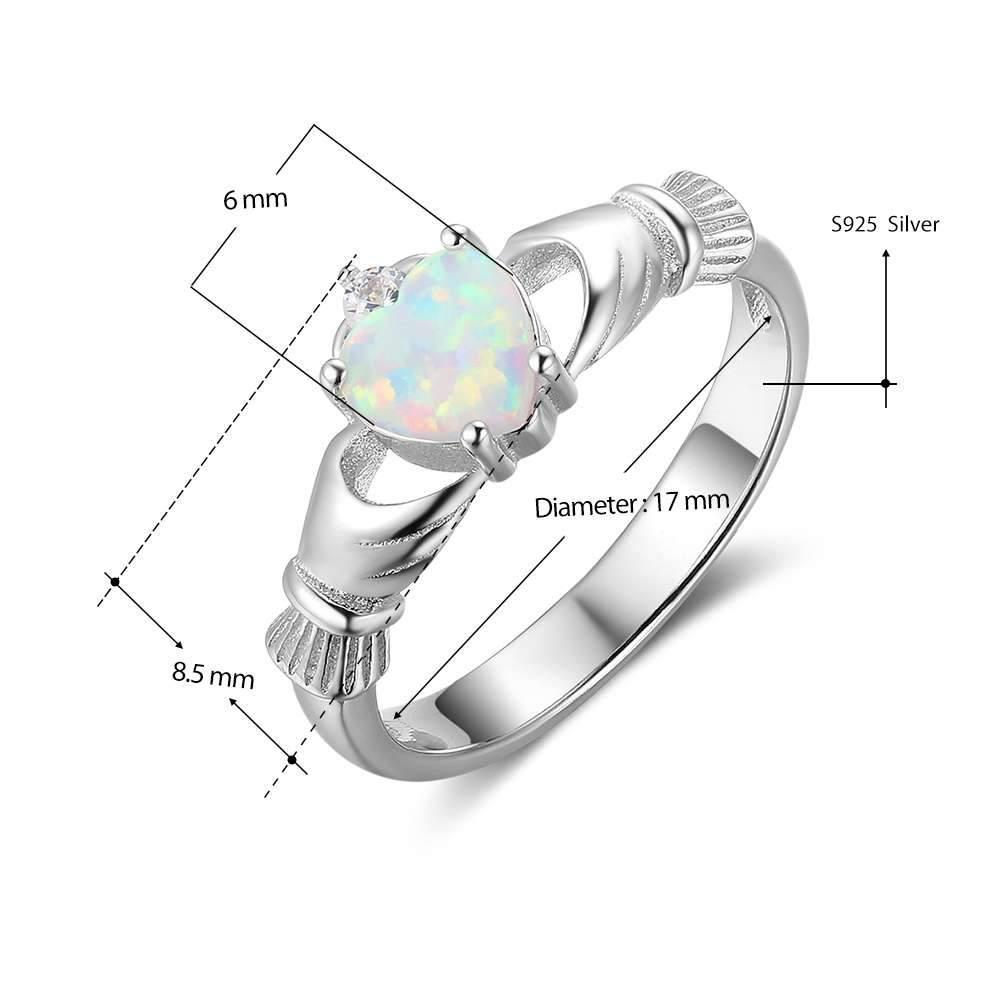 Penelope's Opal Stone Claddagh Ring