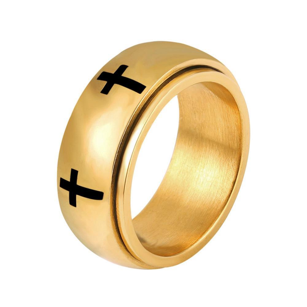 Penelope Gold Stainless Steel Christian Cross Ring