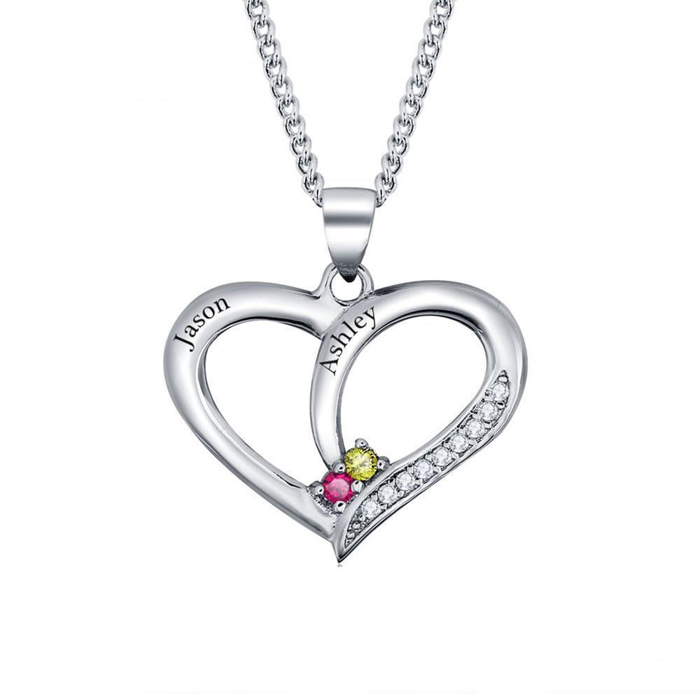 Penelope's Personalized Heart Birthstone Name Necklace