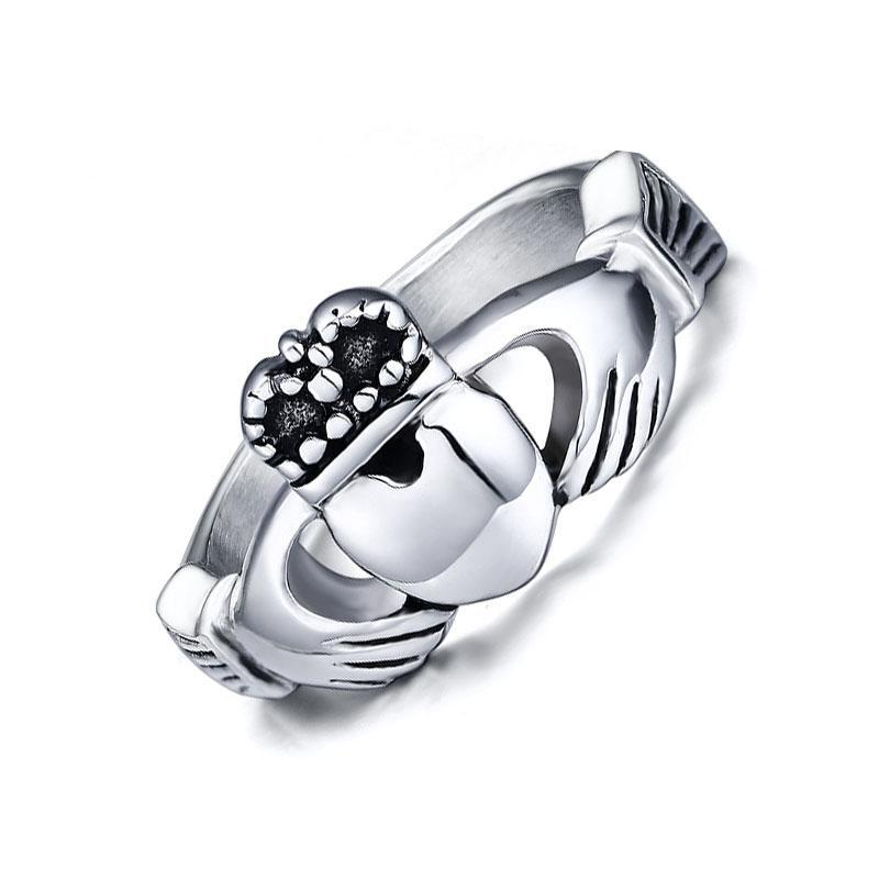 Penelope's Sparkling Stainless Steel Claddagh Ring
