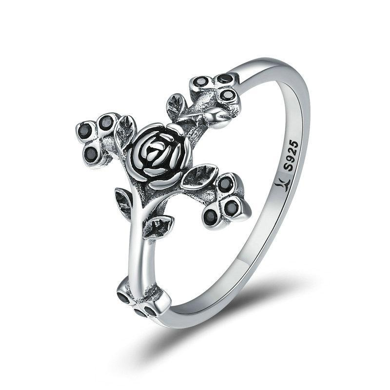 Penelope's Roses on the Cross Christian Ring