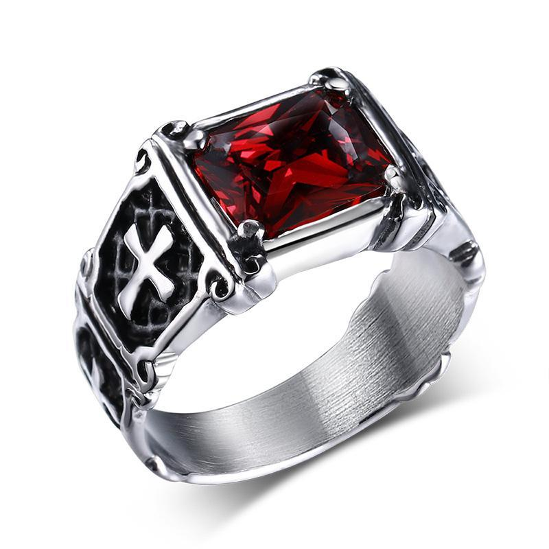 Penelope's Stainless Steel Cross and Red Gem Christian Ring