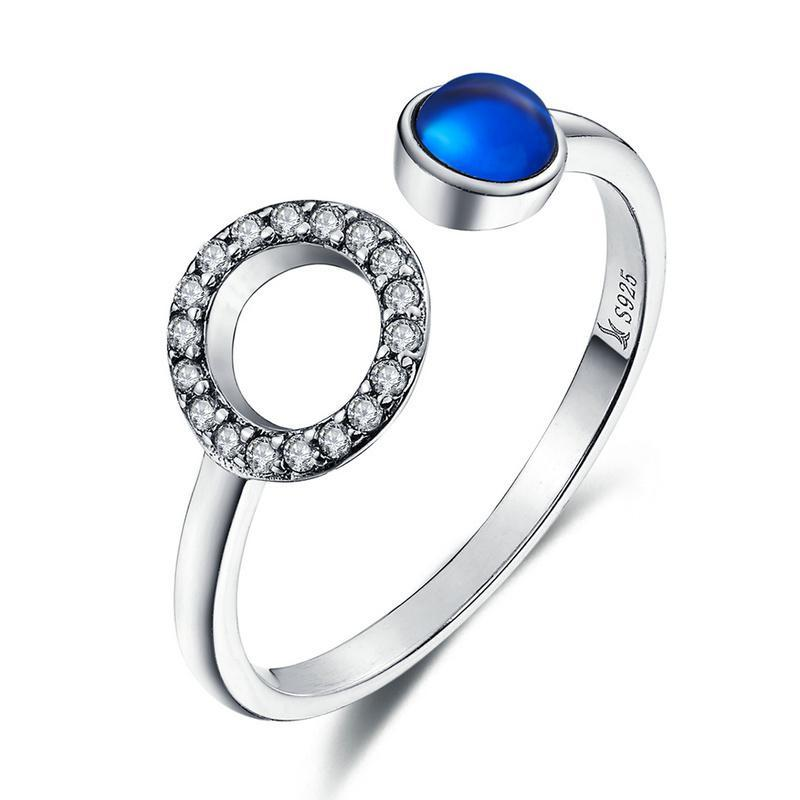 Penelope's 925 Sterling Silver Minimalism Classic Circle & Blue Gem Finger Ring