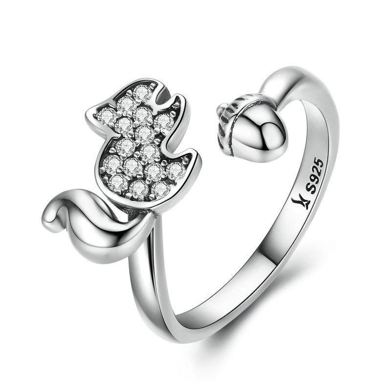 Penelope's Playful Squirrel and Nut Open Finger Ring