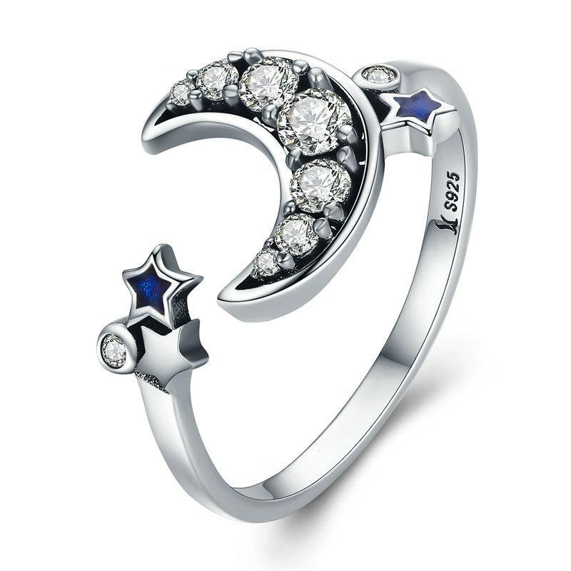 Penelope's Crescent Moon & Stars Finger Ring