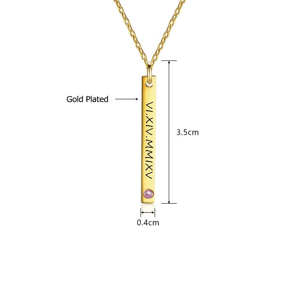 Penelope's Vertical Bar Custom Engrave Name Necklace with Birthstone