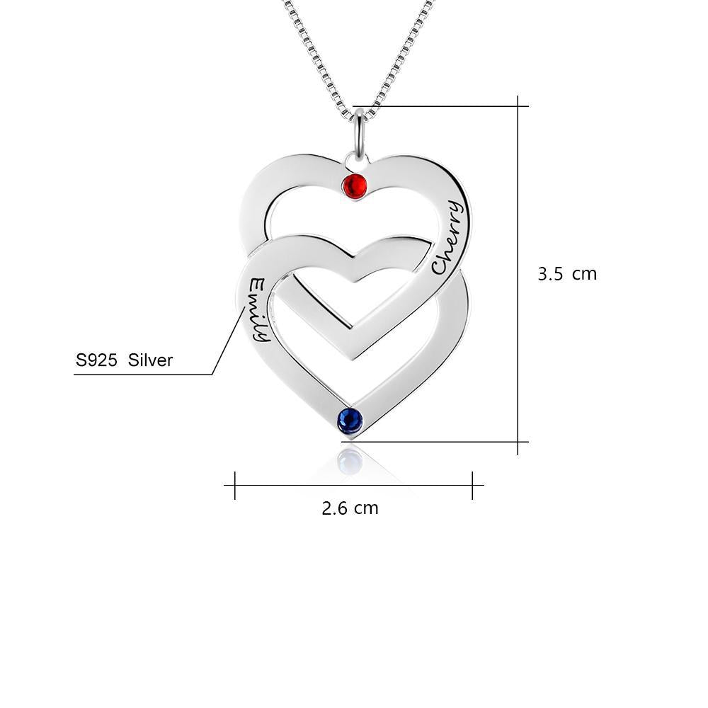 Penelope's Double Heart Shape Personalized Engrave Name Necklace