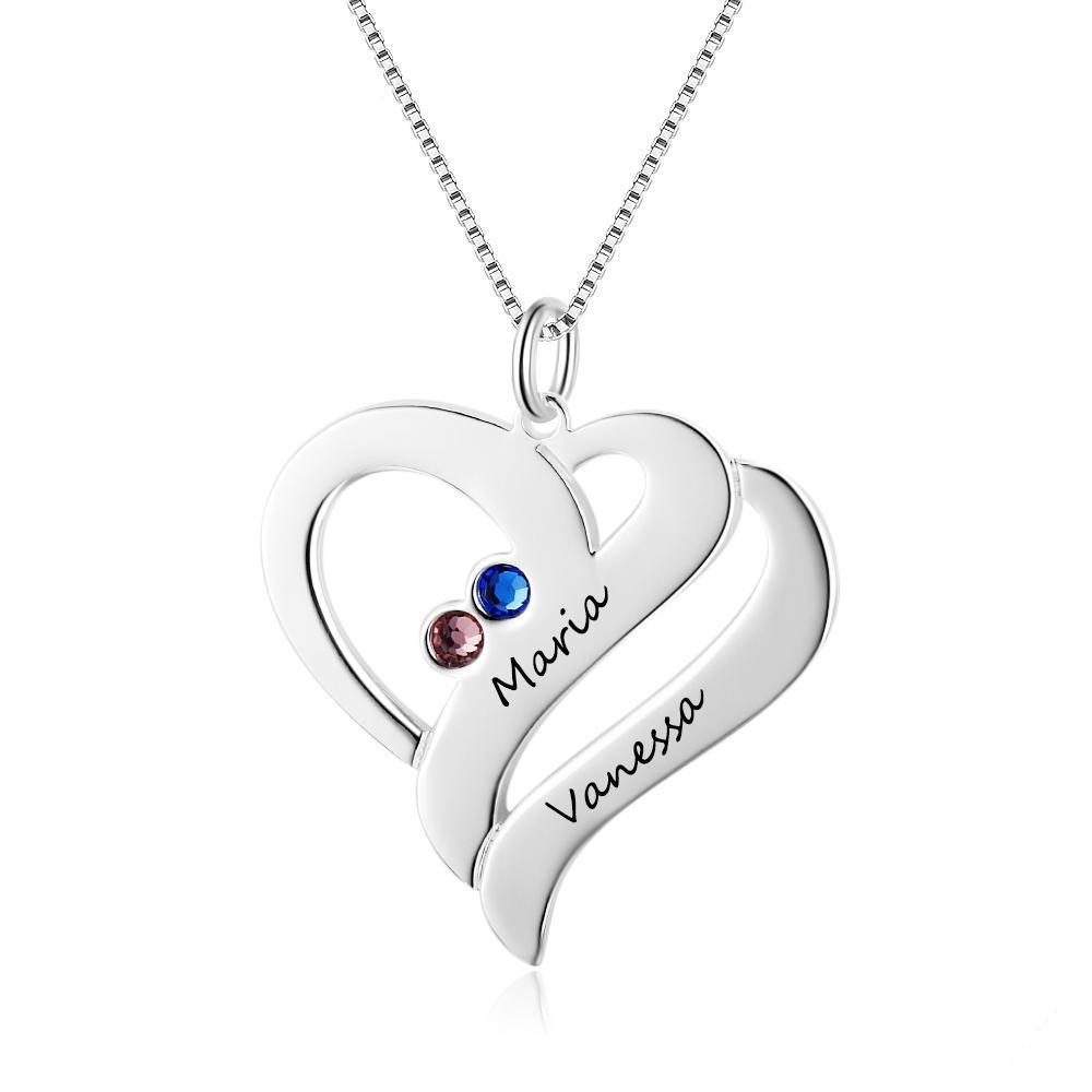 Penelope's Silver Custom Engraved Name Necklace with Birthstones