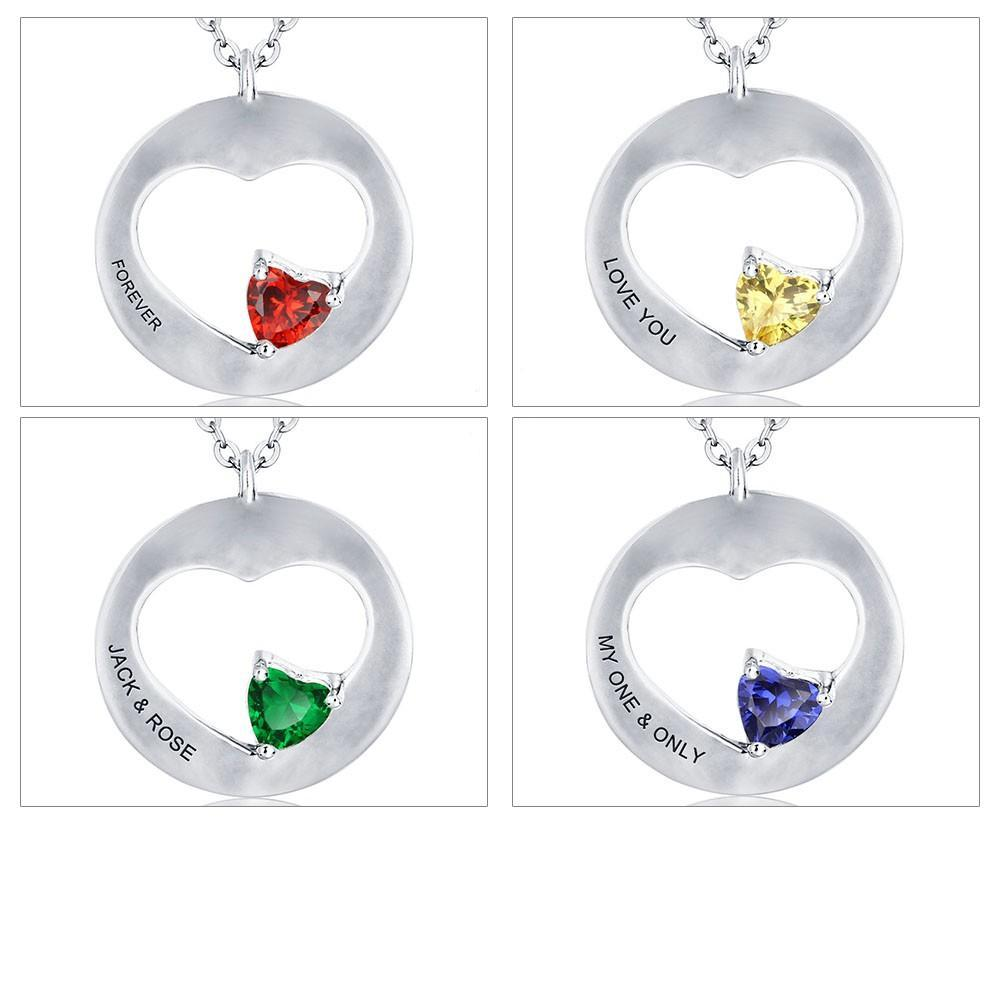 Penelope's Heart Shape Custom Engrave Name Necklace with Birthstone