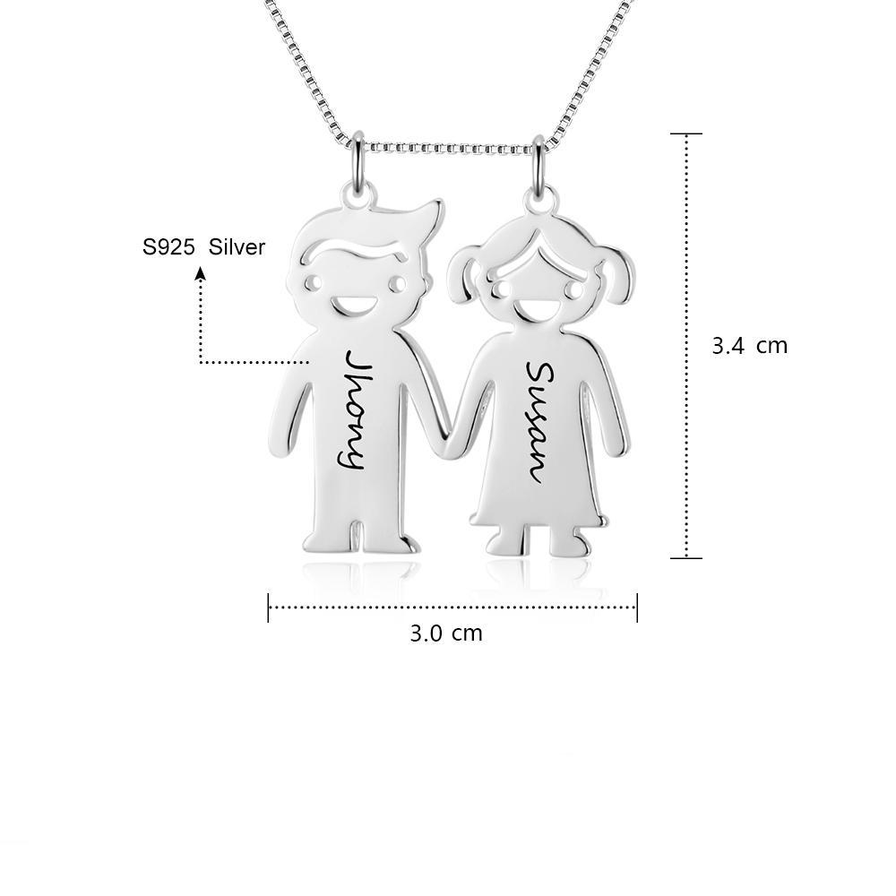 Penelope's Lovely Boy and Girl Double Name Necklace
