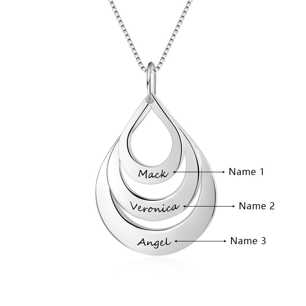 Penelope's Water Droplet Personalized Engrave Name Necklace