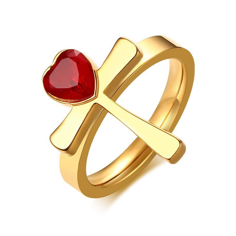 Penelope's Heart and Cross Christian Ring