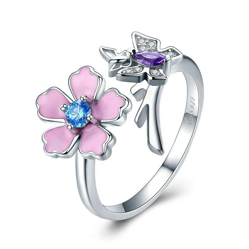Penelope's Lovely Butterfly and Pink Flower Finger Ring
