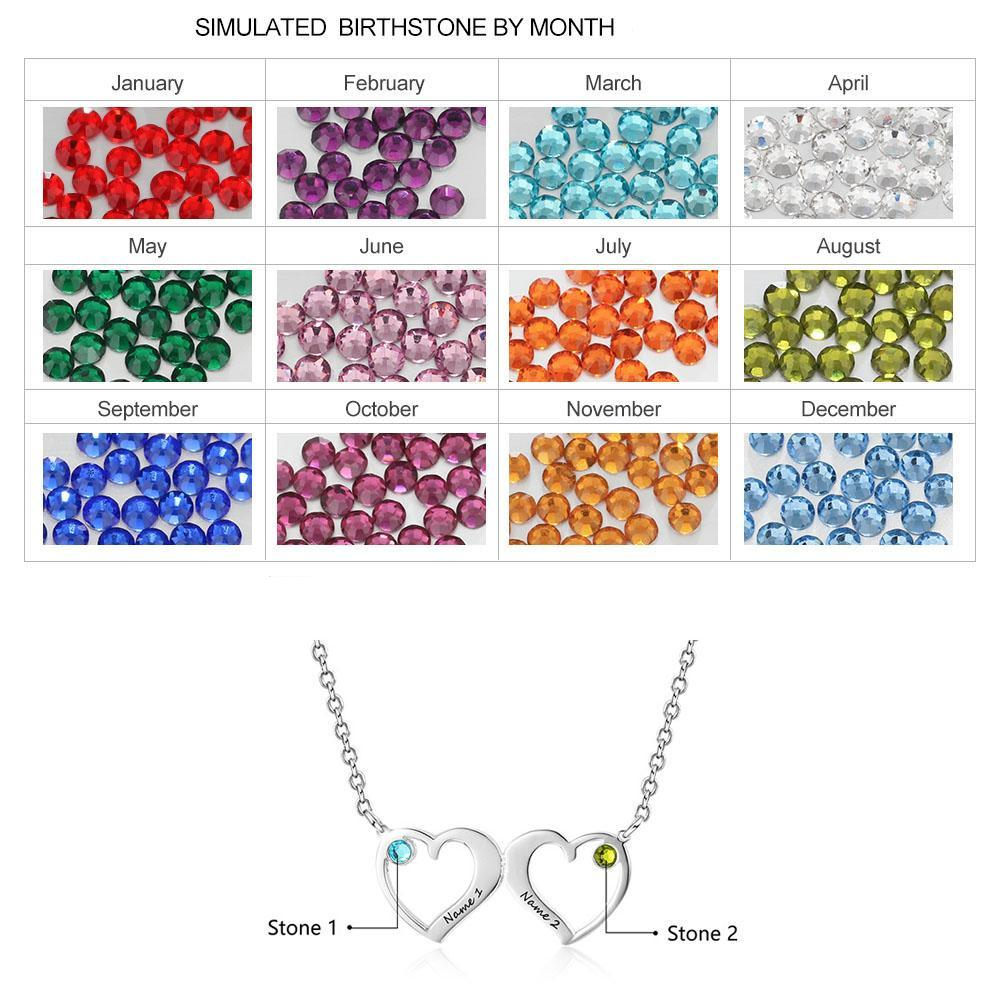 Penelope's Double Heart Custom Engrave Name Necklace with Birthstones