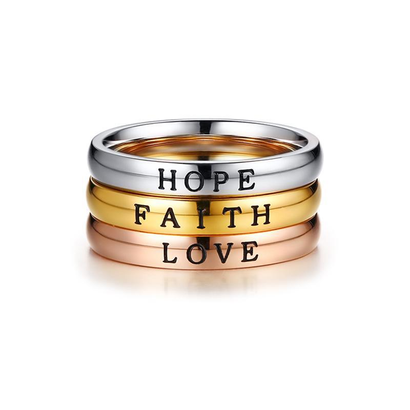 Penelope's HOPE FAITH LOVE Christian Ring Set