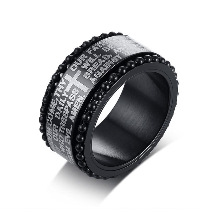 Penelope's Black Stainless Steel Lord's Prayer Christian Ring