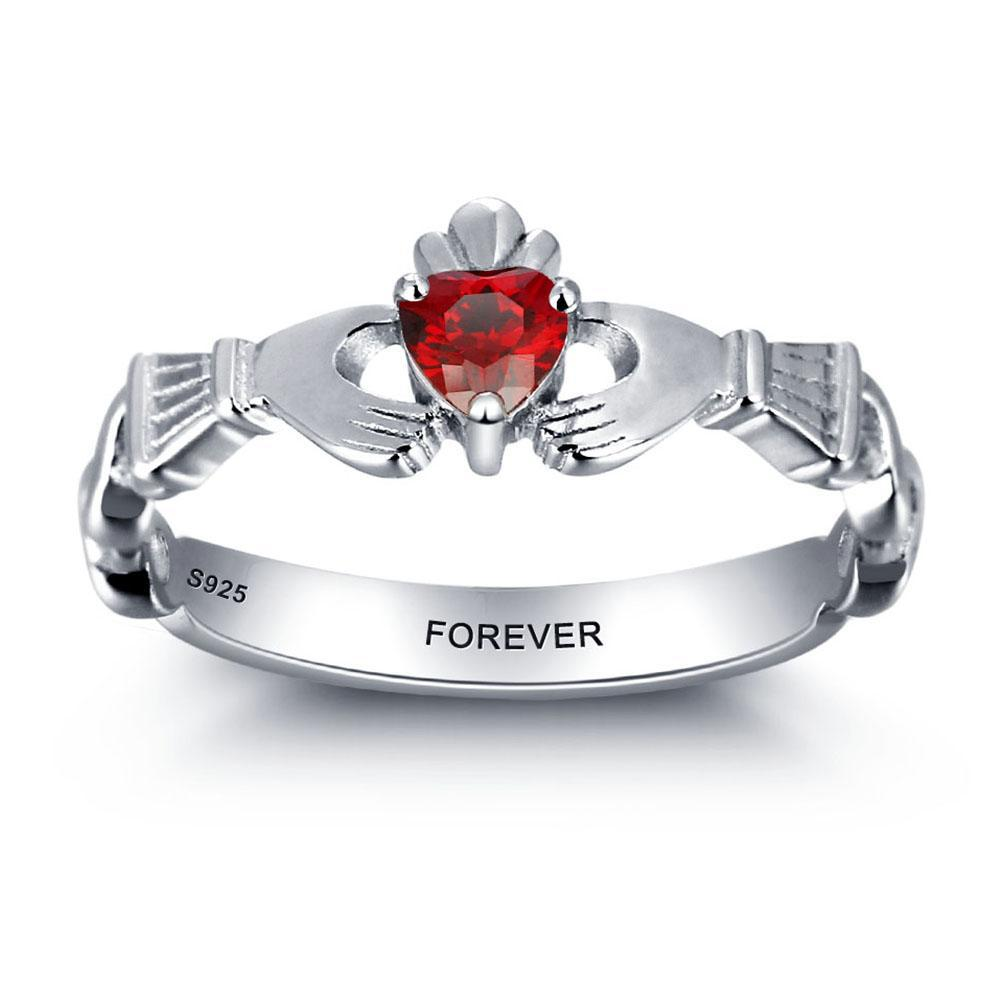 Penelope's Personalized Birthstone and Engrave Claddagh Ring