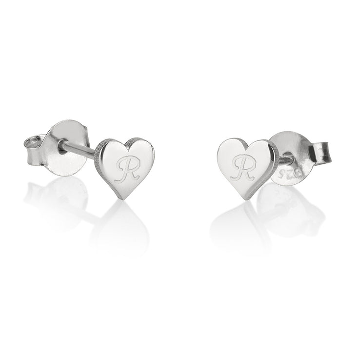 Heart Stud Initial Earrings