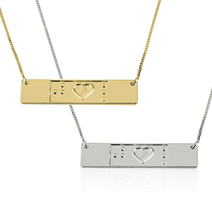 Engraved Friendship Bar Braille Necklace