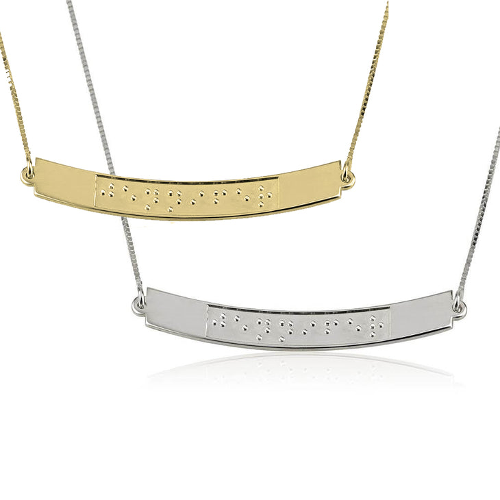 Custom Curved Bar Braille Necklace